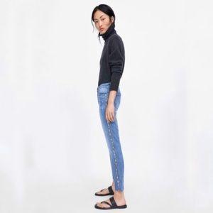 Zara Denim Skinny Jeans with Red Side Leg Stripe